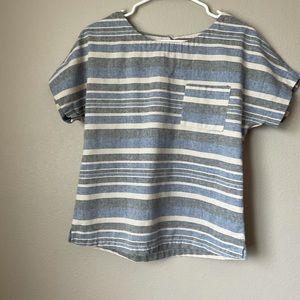 Linen lux blue stripped linen structured blouse Sm